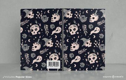 Diseño de portada de libro Doodle negro de Halloween