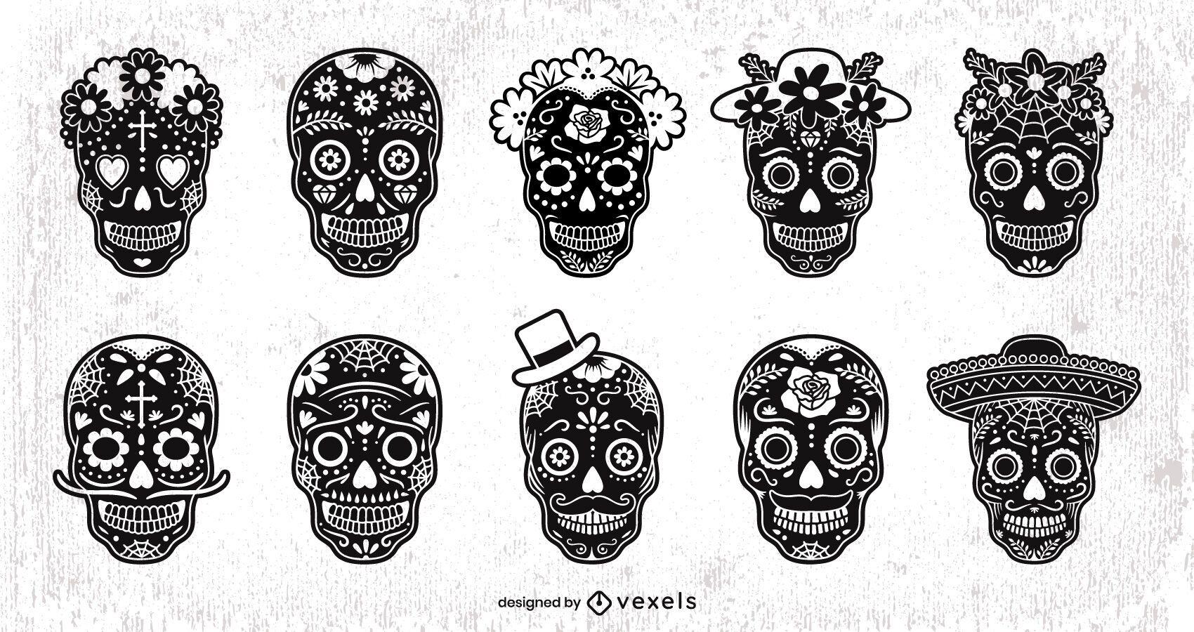 Black Sugar Skull Design Set