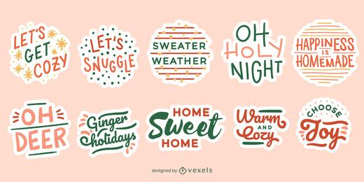 Conjunto de adesivos de citação de Natal