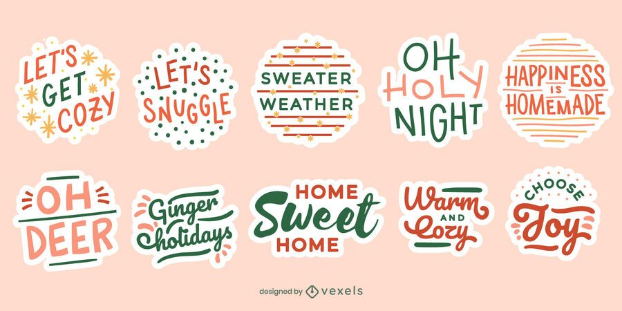 Christmas quote sticker set