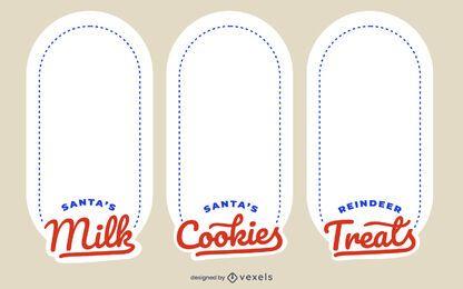 Conjunto de diseño de etiqueta de bandeja de Navidad