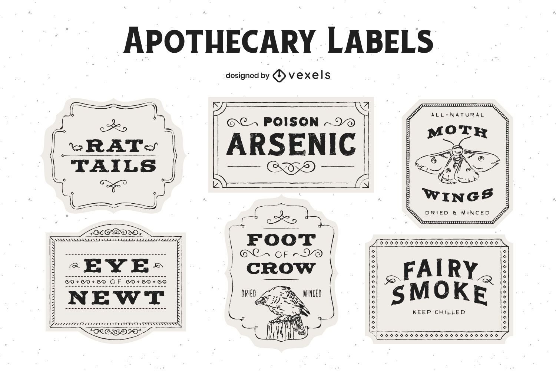 Pacote de design de etiqueta para boticário de Halloween