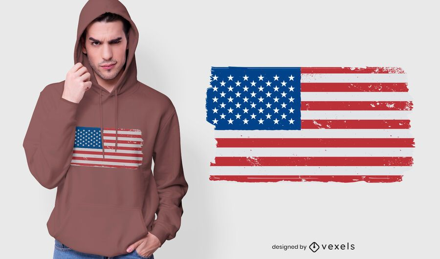Usa flag grunge t-shirt design