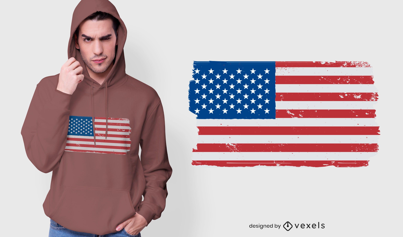 Design de camiseta grunge com bandeira dos EUA