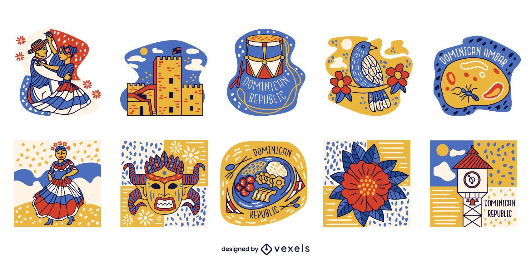 Dominican republic elements color set