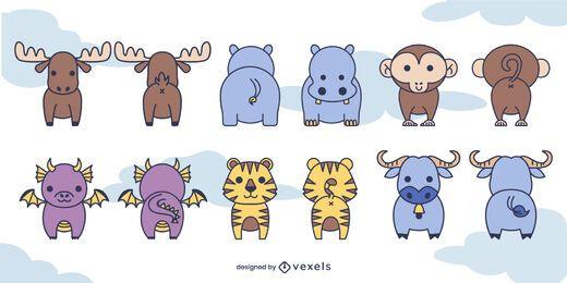Conjunto bonito de animais na frente e atrás