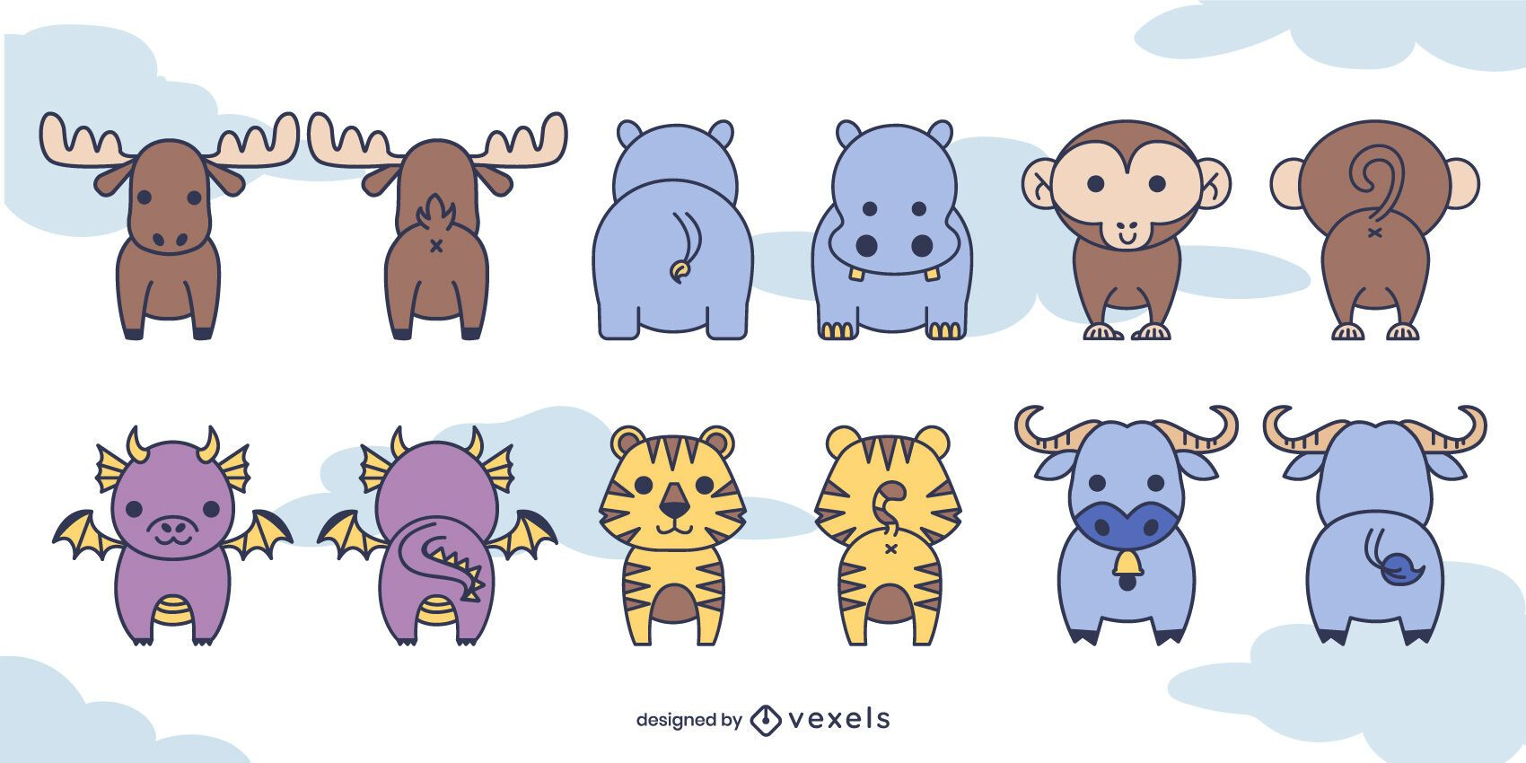 Cute front and back animal set