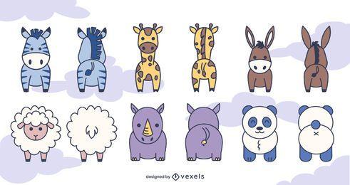 Conjunto de animais na frente e atrás