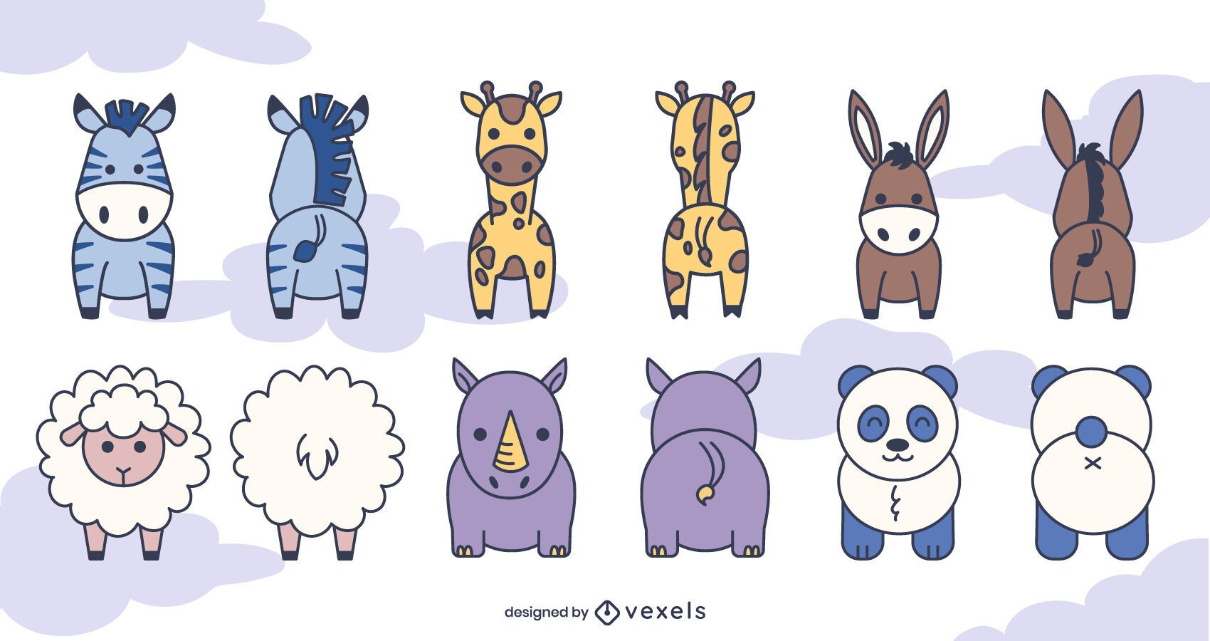 Front and back animal set