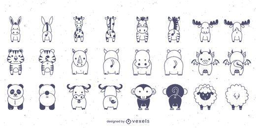 Conjunto de braçadas de animais para frente e para trás