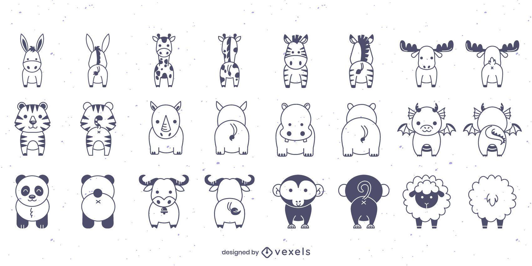 Conjunto de trazos de animales delanteros y traseros.