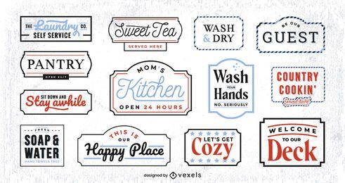 Conjunto de etiquetas de decoración del hogar