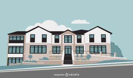 Diseño de edificio plano de casa de fraternidad
