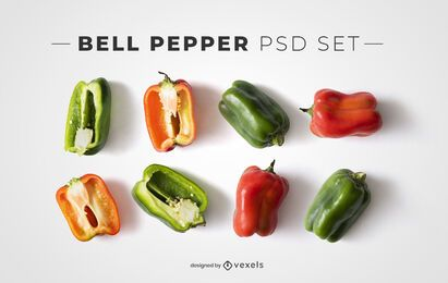Bell pepper psd elements for mockups