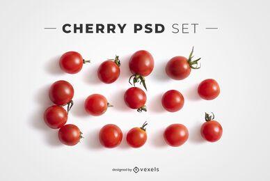 Elementos psd de tomates cherry para maquetas