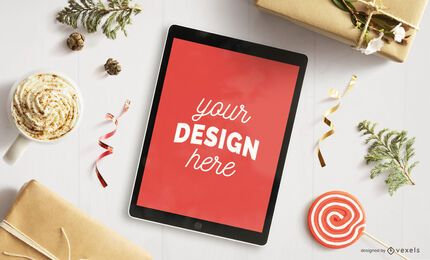 Ipad christmas mockup composition