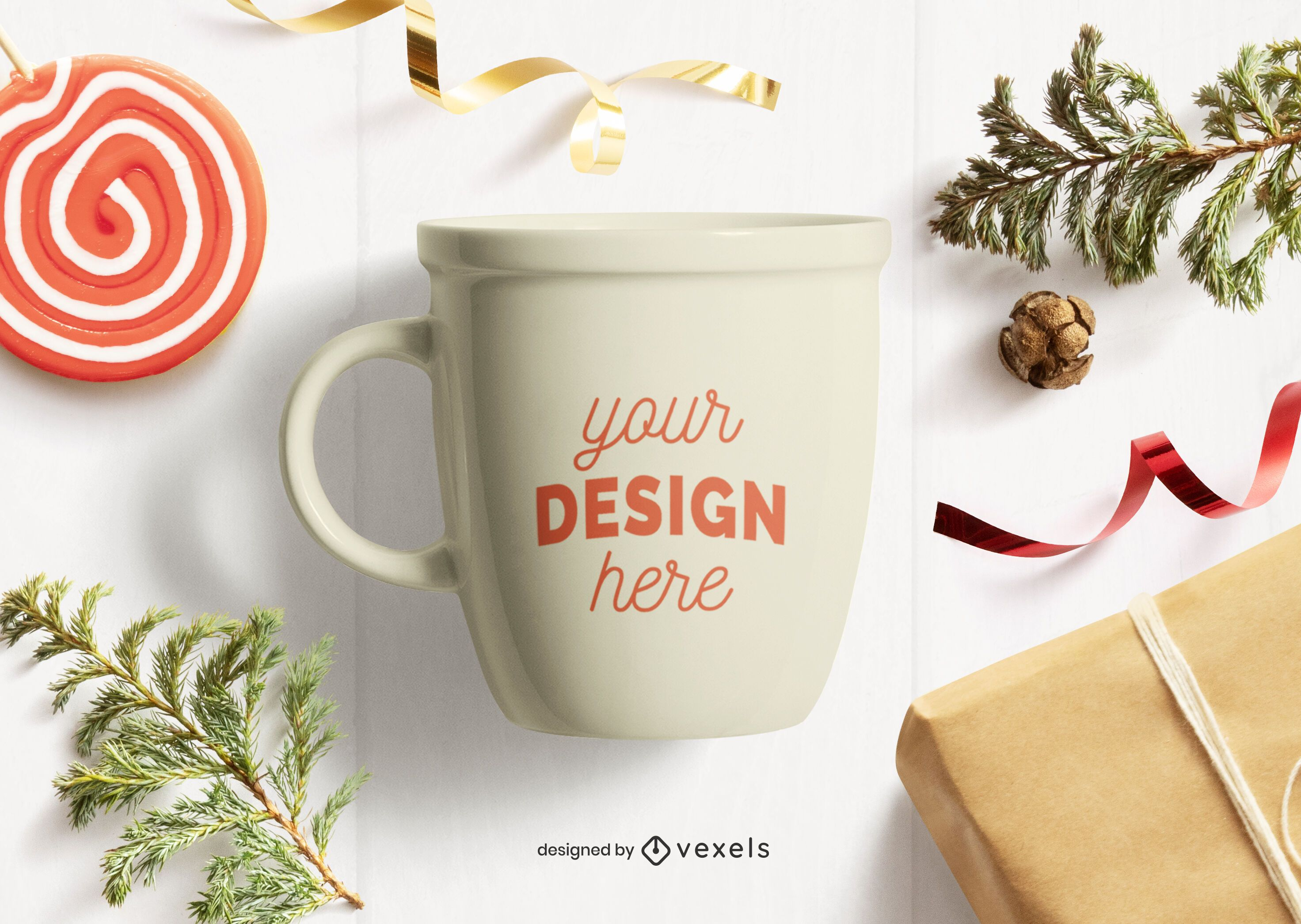 Mug christmas mockup composition