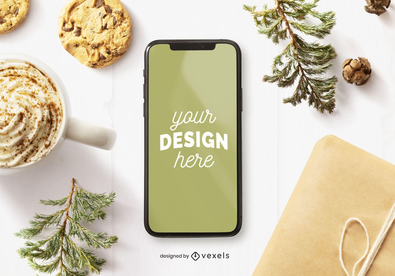 Composición de maqueta de navidad de iphone