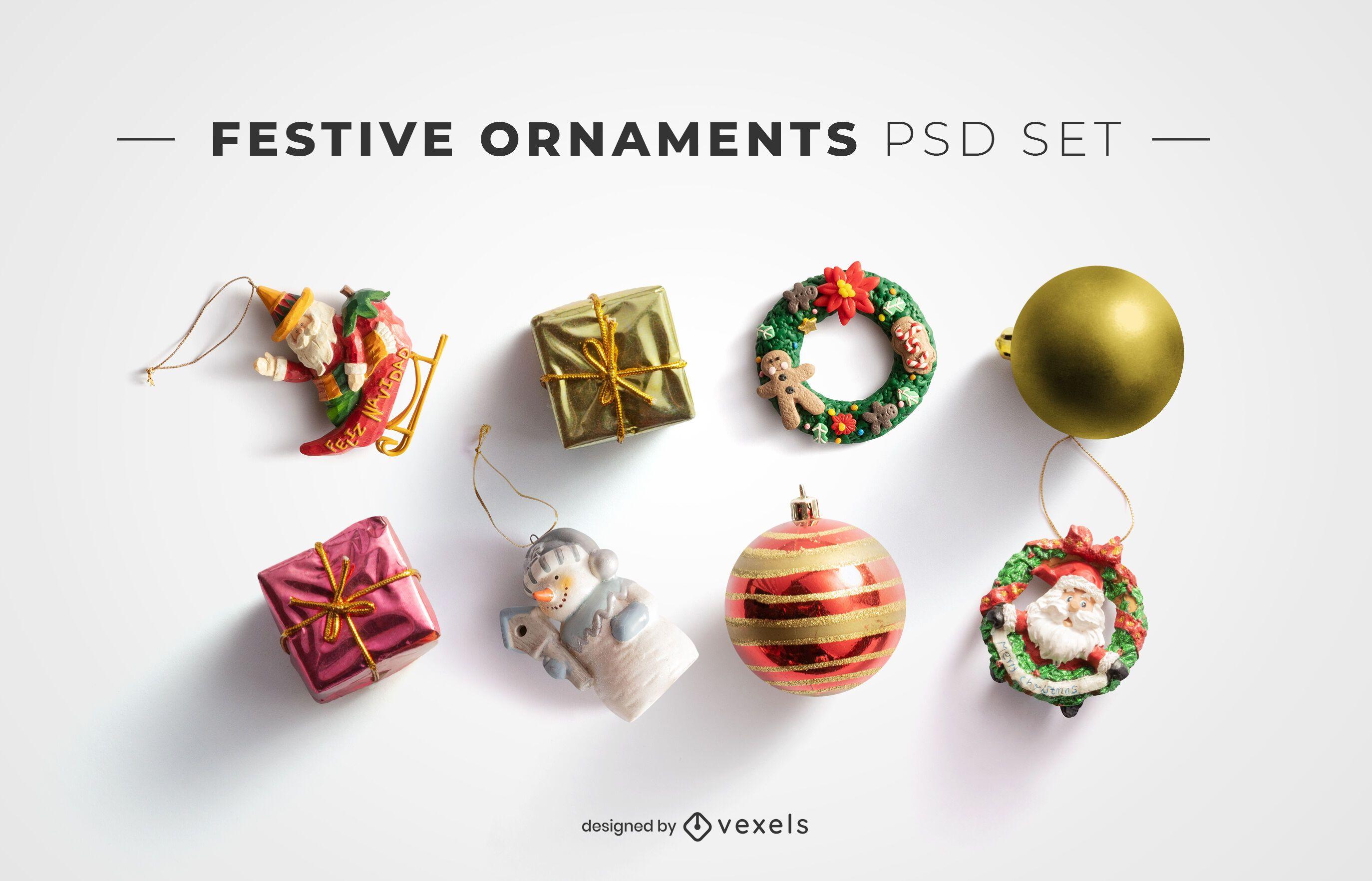 Festive ornaments psd elements for mockups