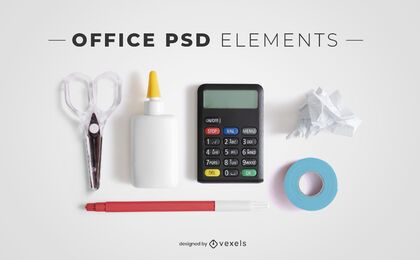 Office psd elements for mockups