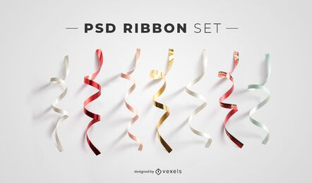 Ribbon psd elements for mockups