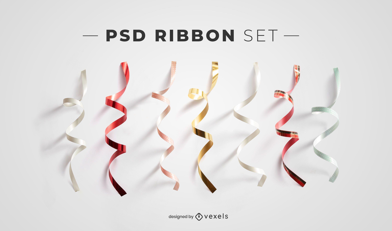 Ribbon psd elements for mockups