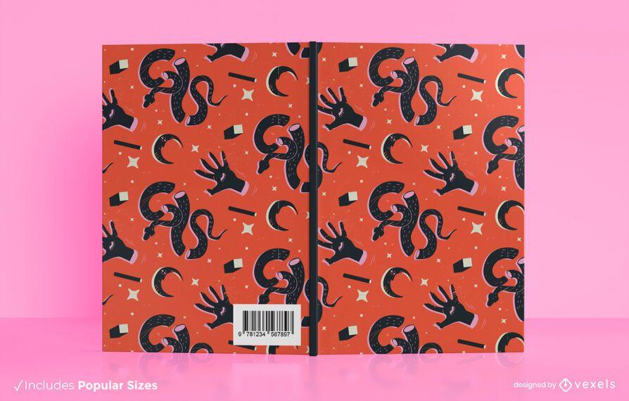 Design de capa de livro com padrão de feitiçaria