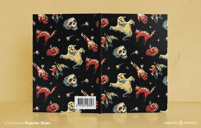Design de capa de livro com padrão sujo de Halloween