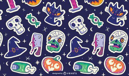 Diseño de patrón de pegatinas de Halloween