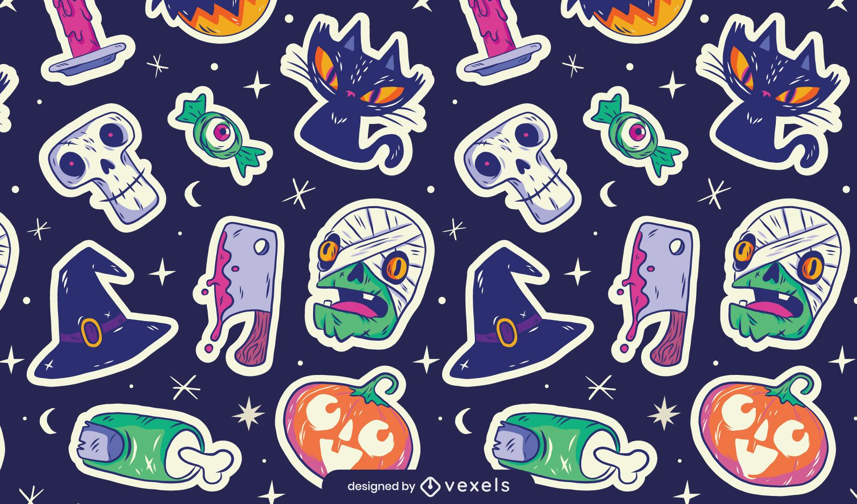 Halloween stickers pattern design