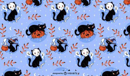 Desenho de padrão de gatos de Halloween