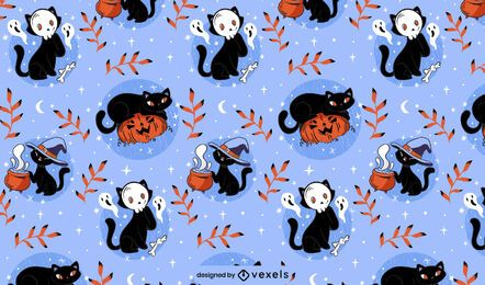 Diseño de patrón de gatos de halloween