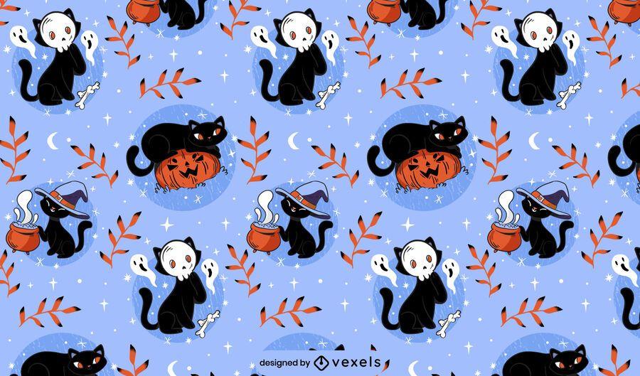 Halloween cats pattern design