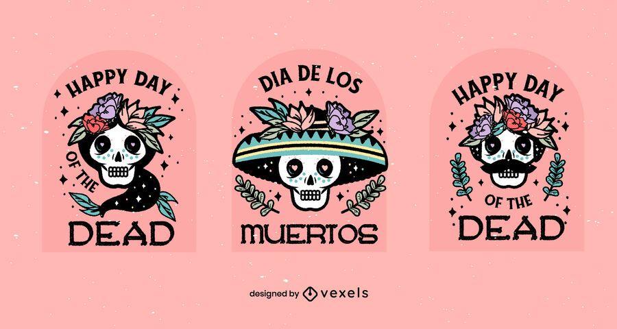 Dia de los muertos badge set