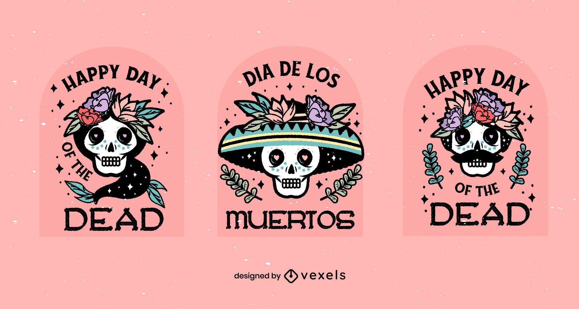 Conjunto de insignias de dia de los muertos