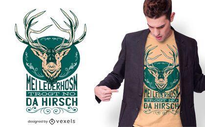 Desenho de camiseta com citação de cervo