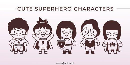 Lindo conjunto de caracteres de trazo de superhéroe