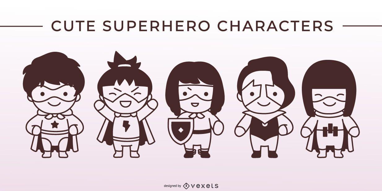 Conjunto de caracteres de traço de super-herói fofo