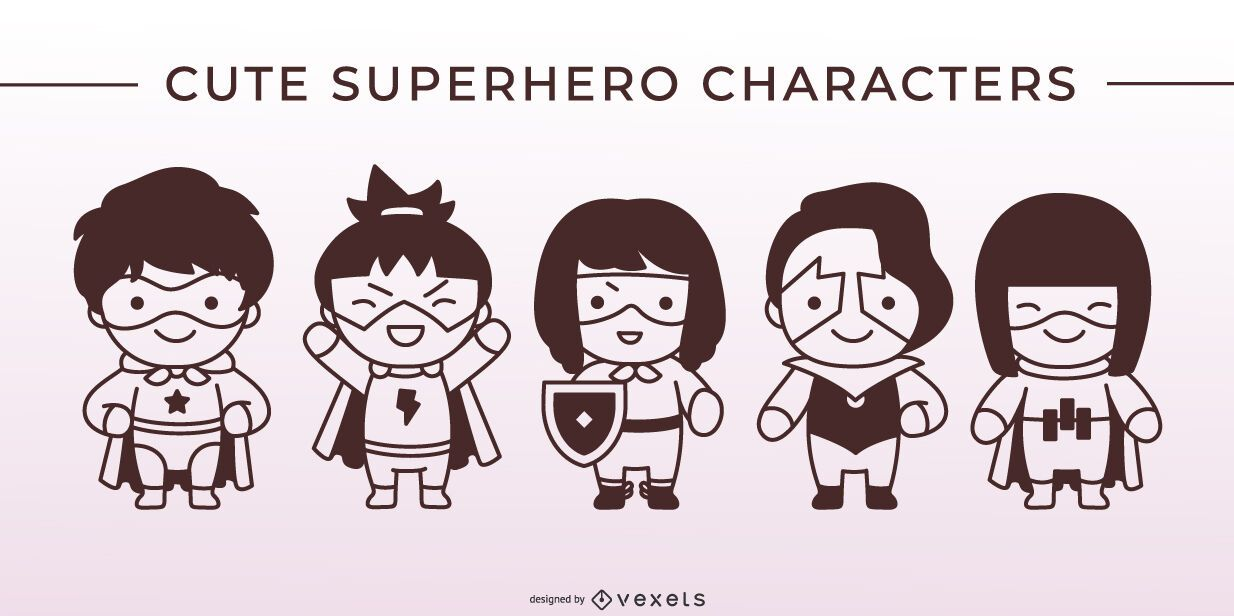 Cute superhero stroke character set