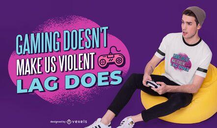 Design de camiseta com citação de violência em jogos