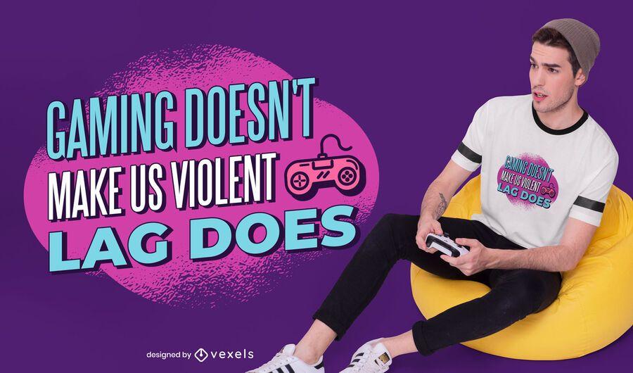 Diseño de camiseta de cita de violencia de juegos.