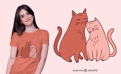 Lindo diseño de camiseta de amantes de los gatos.