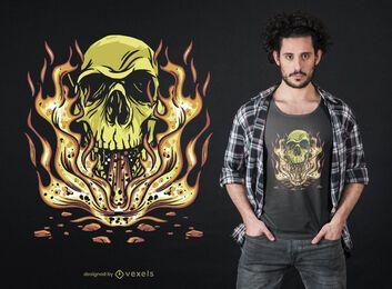 Diseño de camiseta Skull Flames