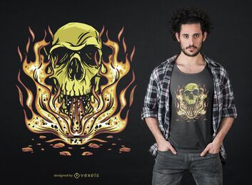 Skull flames t-shirt design