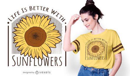 Design de camiseta com citação de girassóis