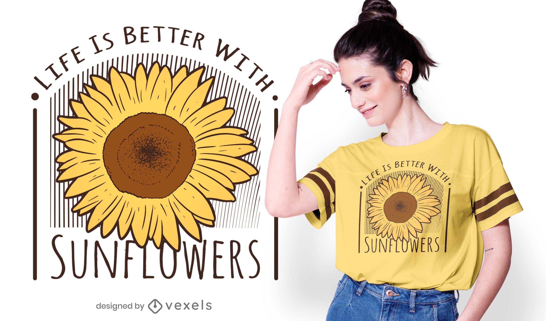 Diseño de camiseta con cita de girasoles