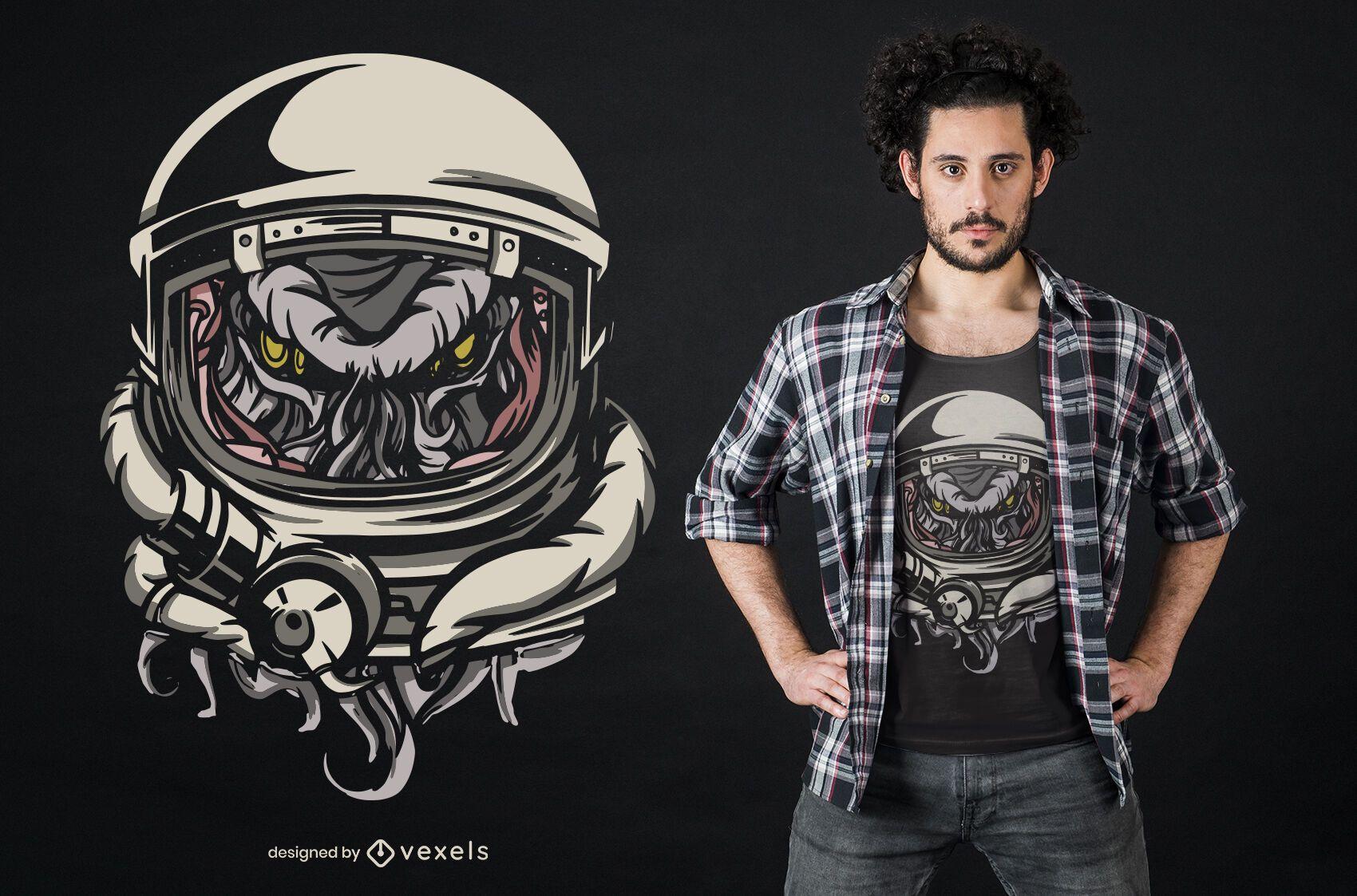 Diseño de camiseta space cthulhu