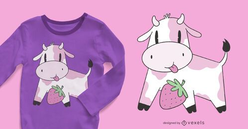 Design de camiseta vaca morango