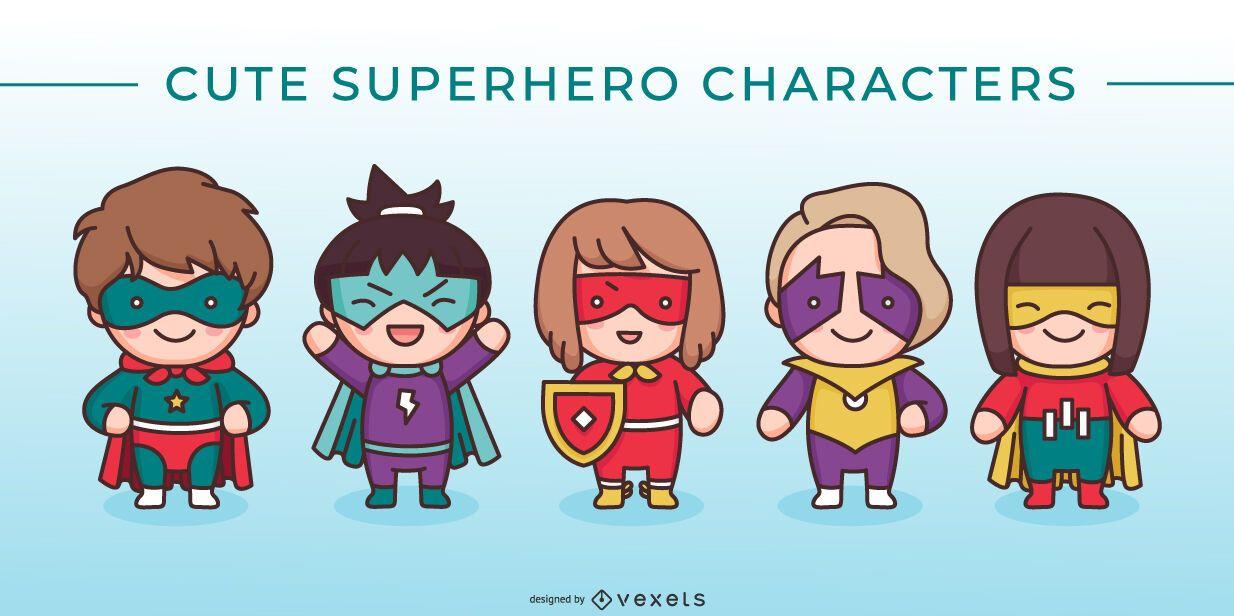 Cute superhero character set