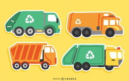 Conjunto de pegatinas planas de camiones de basura
